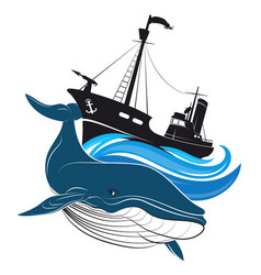 Whaler and the blue whale vector