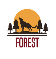 White background with logo forest with wolf vector