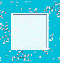 white momo peach flower banner on indigo blue vector image