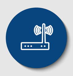 Wifi modem sign white contour icon in vector
