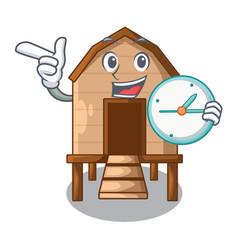With clock chicken coop isolated on a mascot vector