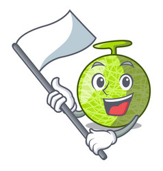 With flag cartoon ripe melon fruit in the kitchen vector