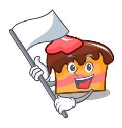 With flag sponge cake mascot cartoon vector