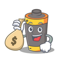 With money bag battery character cartoon style vector