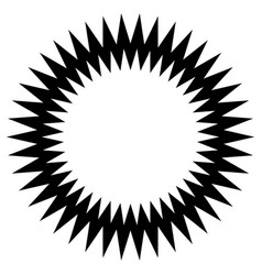 Zig-zag edgy circle element abstract monochrome vector