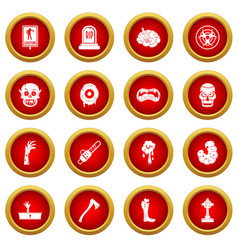 zombie icon red circle set vector image
