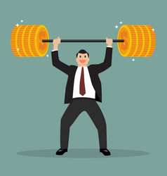 businessman lifting exercise with barbell coin vector image