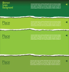 Green torn paper background with space for text vector image vector image