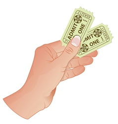 Hand with Cinema Tickets vector image vector image