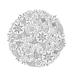 Mendie Mandala with flowers and leaves Zenart vector image vector image