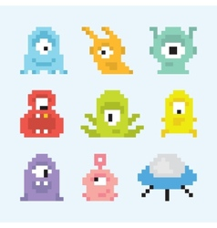 Pixel art aliens set vector image vector image