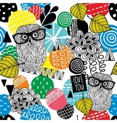 Seamless pattern with owls in eyeglasses vector image vector image