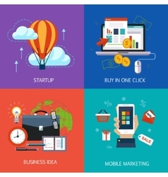 Business banners start-up buy in one click vector image vector image