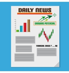 Daily Investment News With Graph And Text vector image vector image