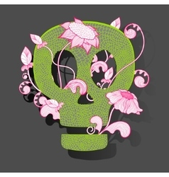 decorative skull woth fantasy flowers on vector image