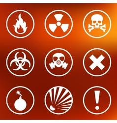 Flat warning signs labels vector image