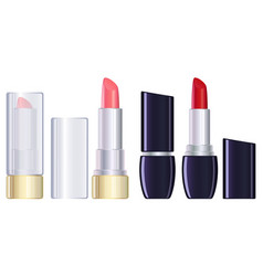 red and pink lipstick closed and open vector image vector image
