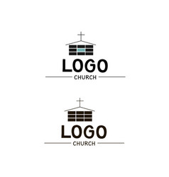 the church logo with a cross and a building vector image vector image