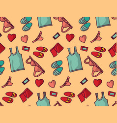 underwear clothes love object seamless pattern vector image vector image