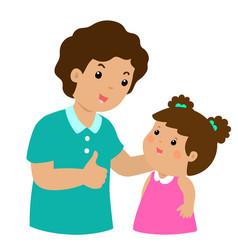dad admire daughter character cartoon vector image vector image