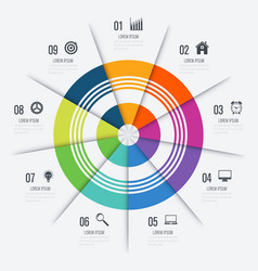 infographics template 9 options with circle vector image vector image