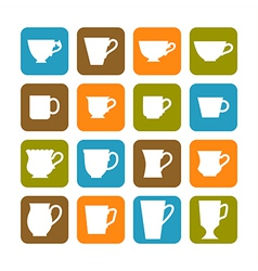 Set of flat mugs on a colored background vector image vector image