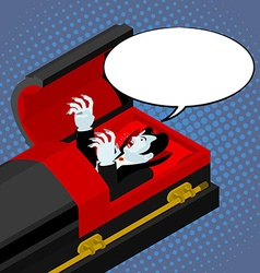 Dracula in coffin pop art style Bubble for text vector image vector image