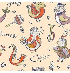 jazz concept wallpaper Birds sing and dancing vector image