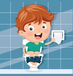 kid at toilet vector image