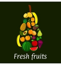 Pear icon with tropical and exotic fruits vector