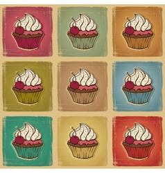 Retro cupcakes background vector image vector image