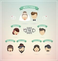Retro set of wedding icons vector image