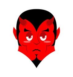 Sad satan sorrowful red devil pessimistic demon vector
