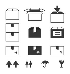simple set of box and package vector image vector image