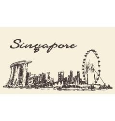 Singapore skyline drawn sketch vector image vector image