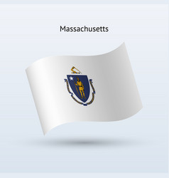 State of massachusetts flag waving form vector