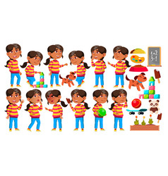 Arab muslim girl kindergarten kid poses set vector