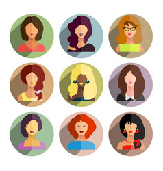 avatars business women flat icons set isolated on vector image