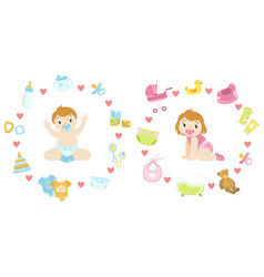 Baboy and girl surrounded with object it needs vector