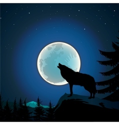 background with wolf howls moon vector image