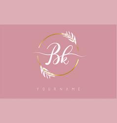 Bk b k letters logo design with golden circle vector