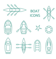 Boat icons outline set vector