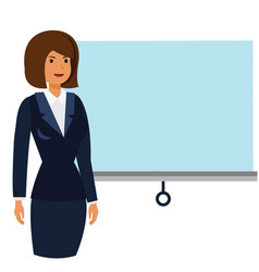 businesswoman at business conference cartoon flat vector image