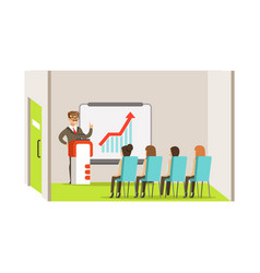 Businesswoman pointing at a whiteboard with growth vector