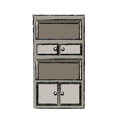 cabinet shelf furniture wooden office empty vector image