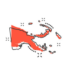 cartoon papua new guinea map icon in comic style vector image