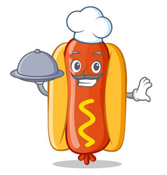 chef with food hot dog cartoon character vector image