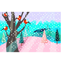 christmas pattern happy holidays winter landscape vector image