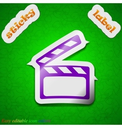 Cinema Clapper icon sign Symbol chic colored vector