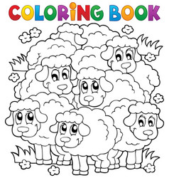 coloring book sheep theme 2 vector image